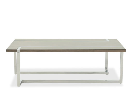 L-Shaped Base Transitional Cocktail Table in Gray