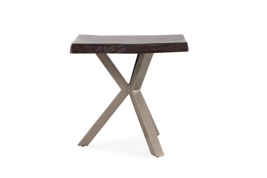Aluminum Slab Top Rectangular End Table in Light Brown