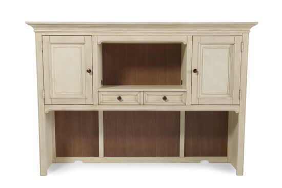 """68"""" Country Two-Door Credenza Hutch in White"""
