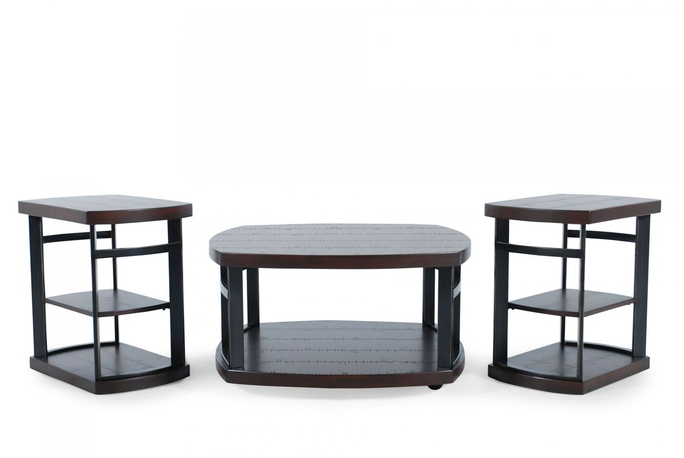 Three piece casual table set in brown mathis brothers furniture for Mathis brothers living room furniture