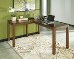 """60"""" Contemporary L-Shaped Desk in Brown"""