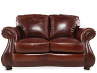 """Nailhead-Trimmed Leather 66"""" Loveseat in Cognac"""