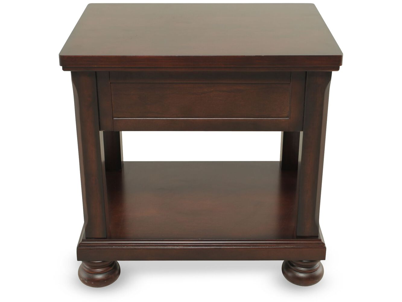 Rectangular One Drawer Traditional End Table In Brown
