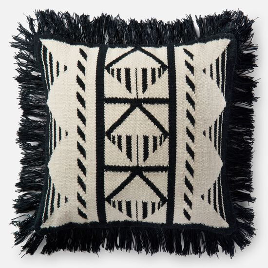 """Indoor/Outdoor 22""""x22"""" Cover w/Down Pillow in Black/Ivory"""
