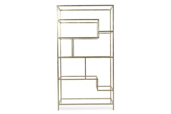 Asymmetrical Glass-Shelved Contemporary Etagere in Silver Leaf