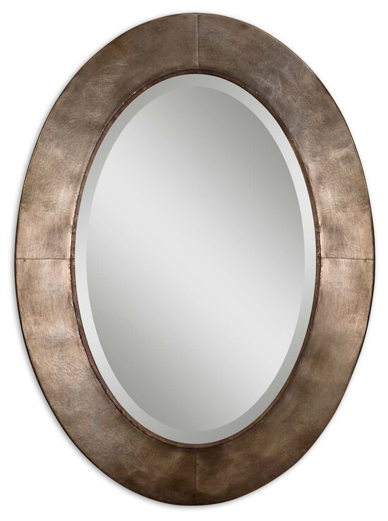 "38"" Oval Accent Mirror in Antiqued Silver Champagne Leaf"