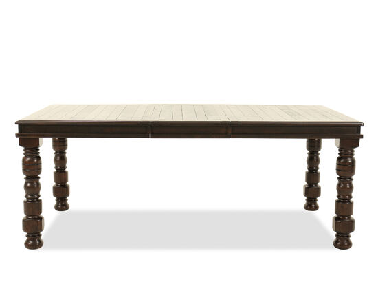 """Solid Pine Wood Rectangular 60"""" to 78'' Dining Table in Dark Brown"""