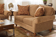 """Textured Traditional 66"""" Loveseat in Nut-Brown"""