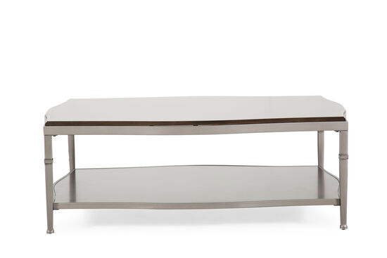 Open-Shelf Traditional Cocktail Table in Pewter