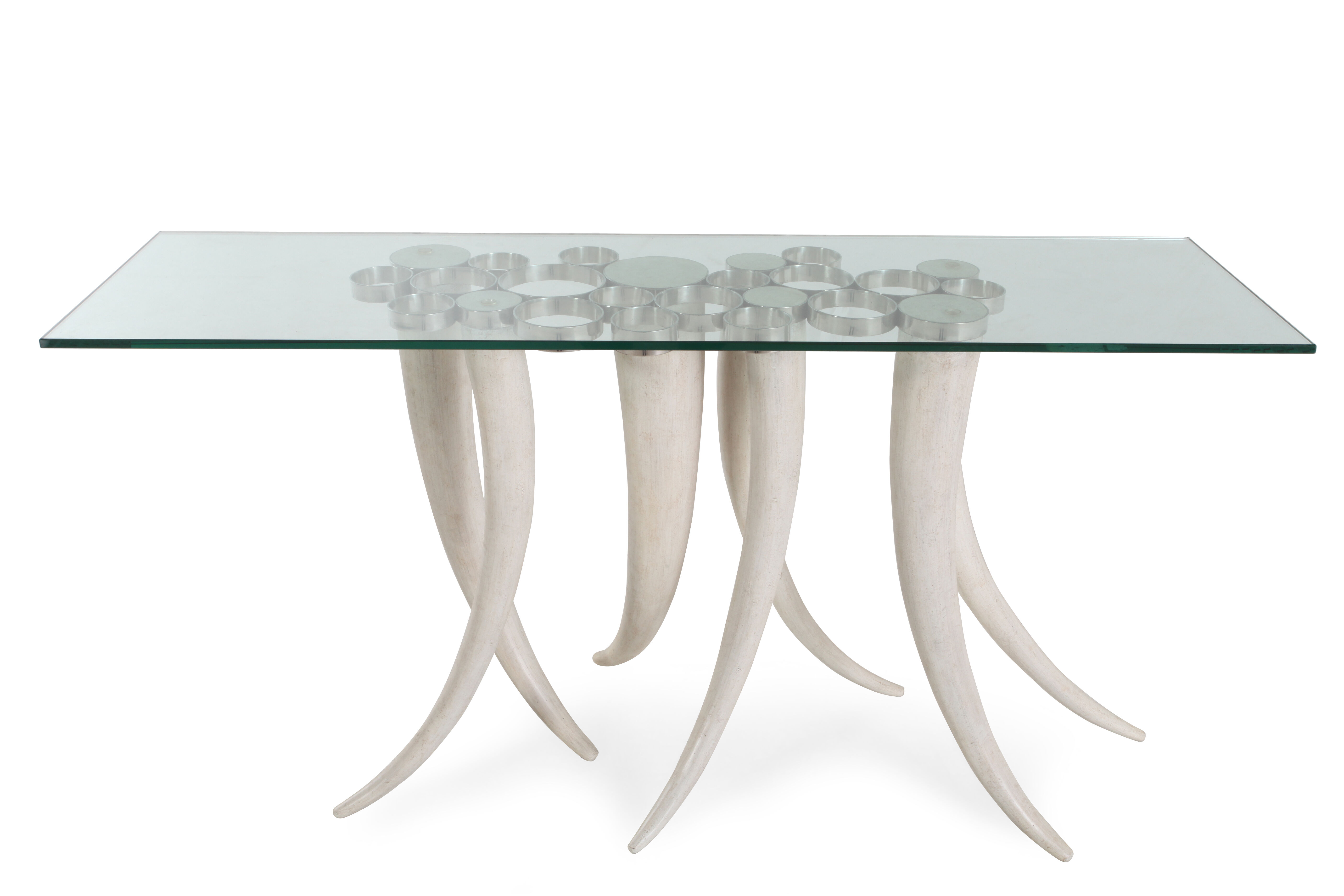 Tusk Legs Bohemian Eclectic Console Table In Cream