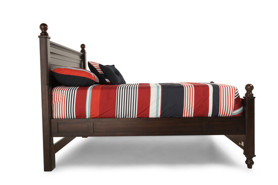 Traditional Planked Youth Reading Bed in Brown