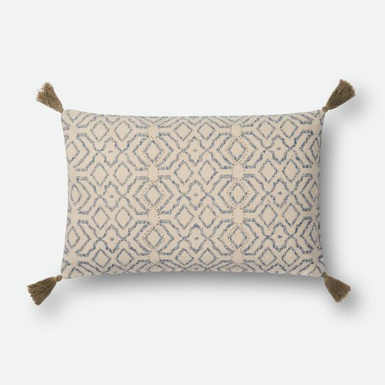 """Contemporary 13""""x21"""" Cover w/Down Pillow in Natural/Blue"""