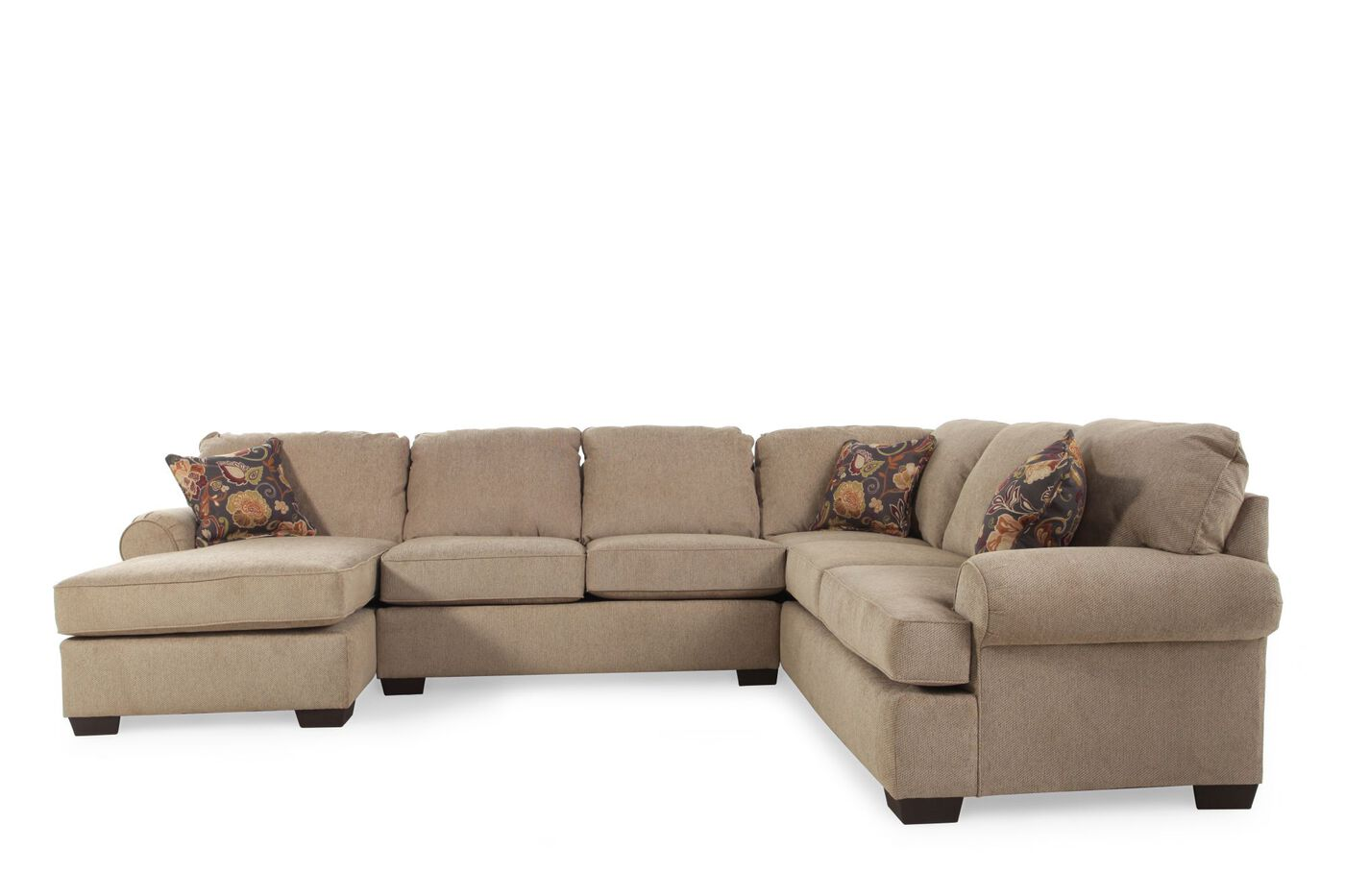 Casual 135 Sectional In Medium Brown Mathis Brothers Furniture ~ Lane Reclining Sofa Reviews