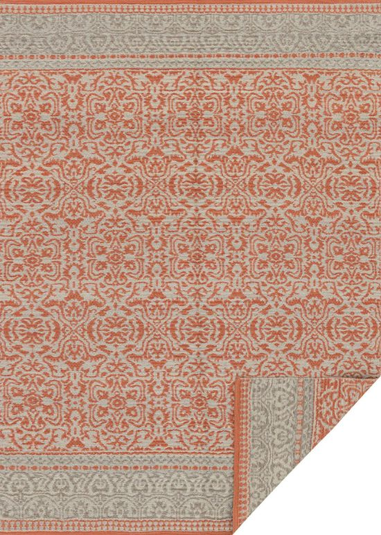 """Transitional 1'-6""""x1'-6"""" Square Rug in Persimmon/Grey"""
