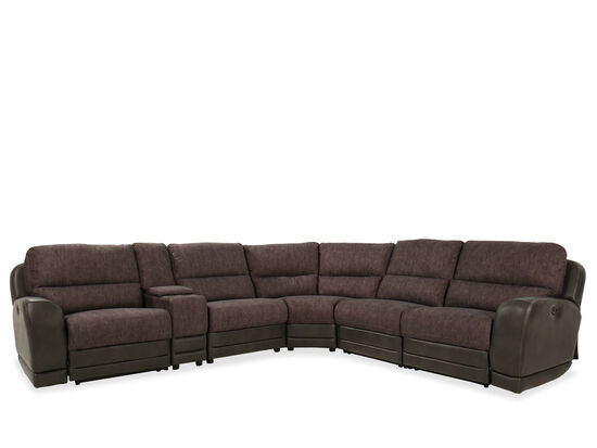Six-Piece Casual Power Reclining Sectional in Brown