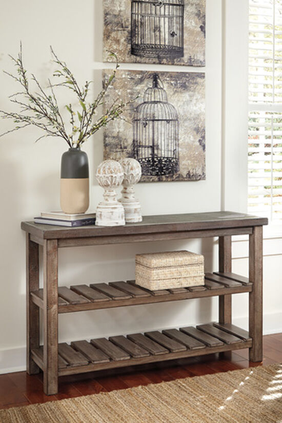 Slatted Shelves Casual Sofa Table in Brown
