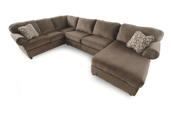 "Microfiber 139"" Sectional in Brown Dune"