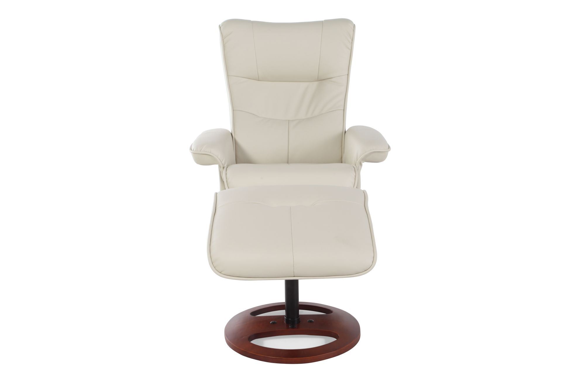 Contemporary Leather 32.5u0026quot; Reclining Chair And Ottoman In Ivory