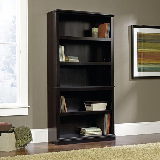 Transitional Adjustable Shelf Bookcase in Estate Black