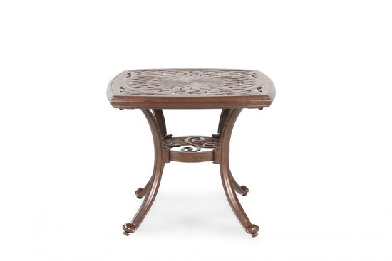 Hand-Applied Accent Traditional Cast End Table in Burgundy