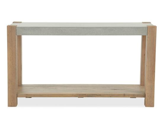 Open Shelf Traditional Rectangular Sofa Table in Wheat