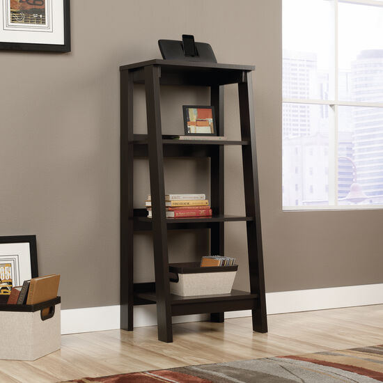 Three-Shelf Transitional Bookcase in Jamocha Wood