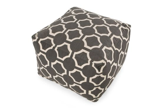 """Geometric Patterned Traditional 19"""" Ottoman in Gray"""