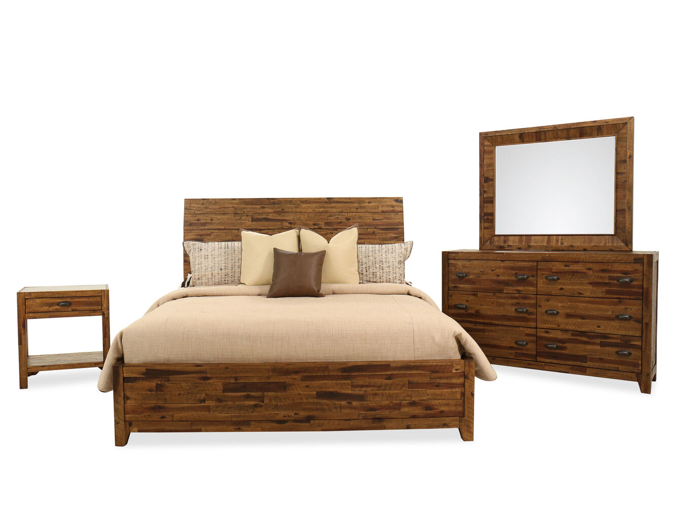 Four Piece Country Bedroom Set In Dark Brown Mathis Brothers Furniture