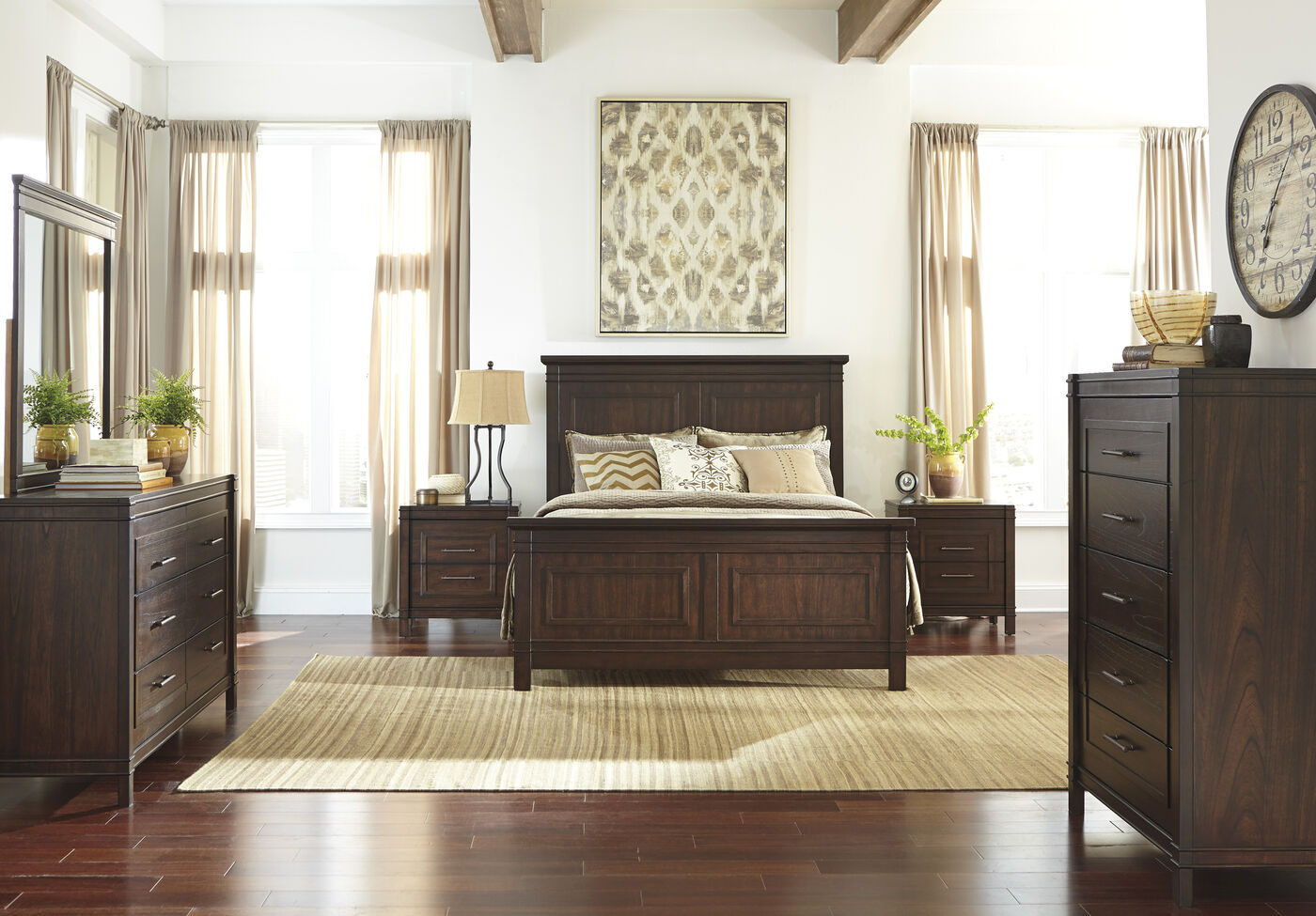 Four piece contemporary bedroom set in walnut brown for Walnut bedroom furniture