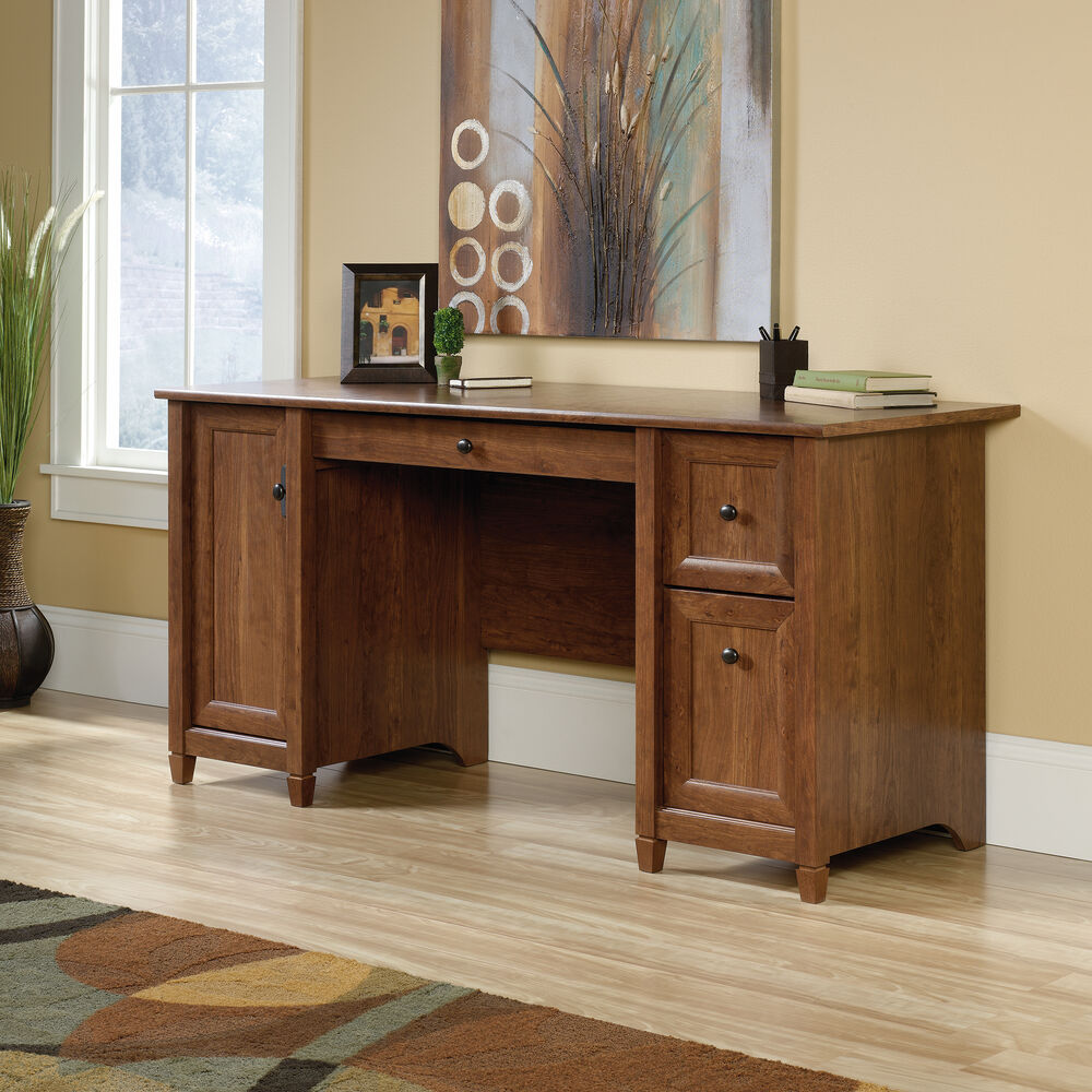 Images 59 Two Drawer Solid Wood Computer Desk In Auburn Cherry
