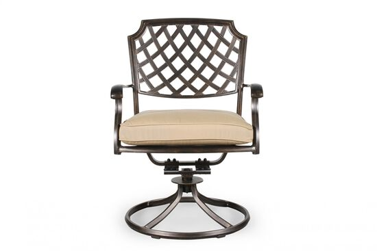Lattice-Back Aluminum Patio Swivel Rocker in Bronze