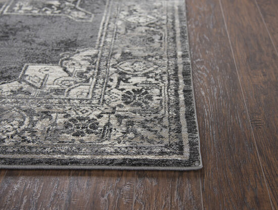 Transitional Power-Loomed 6.7 x 9.6 Rectangle Rug in Gray
