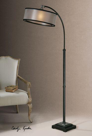 arc floor lamp in matte black mathis brothers furniture. Black Bedroom Furniture Sets. Home Design Ideas