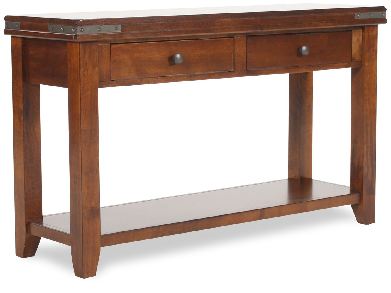 Two drawer transitional sofa table in warm brown mathis brothers two drawer transitional sofa table geotapseo Image collections