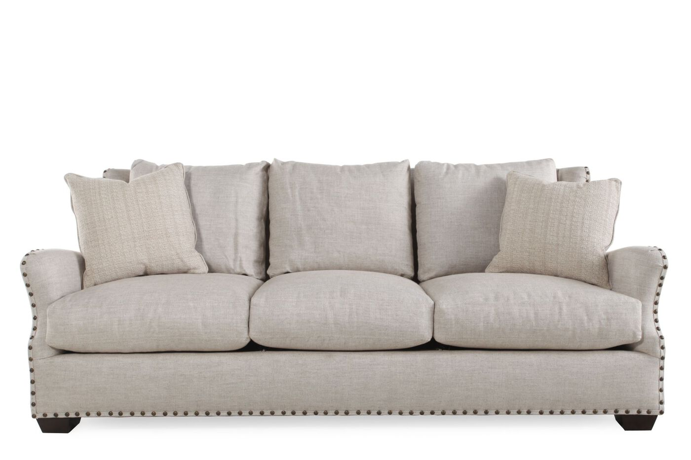 Contemporary Nailhead Accented 92 Quot Sofa In White Mathis