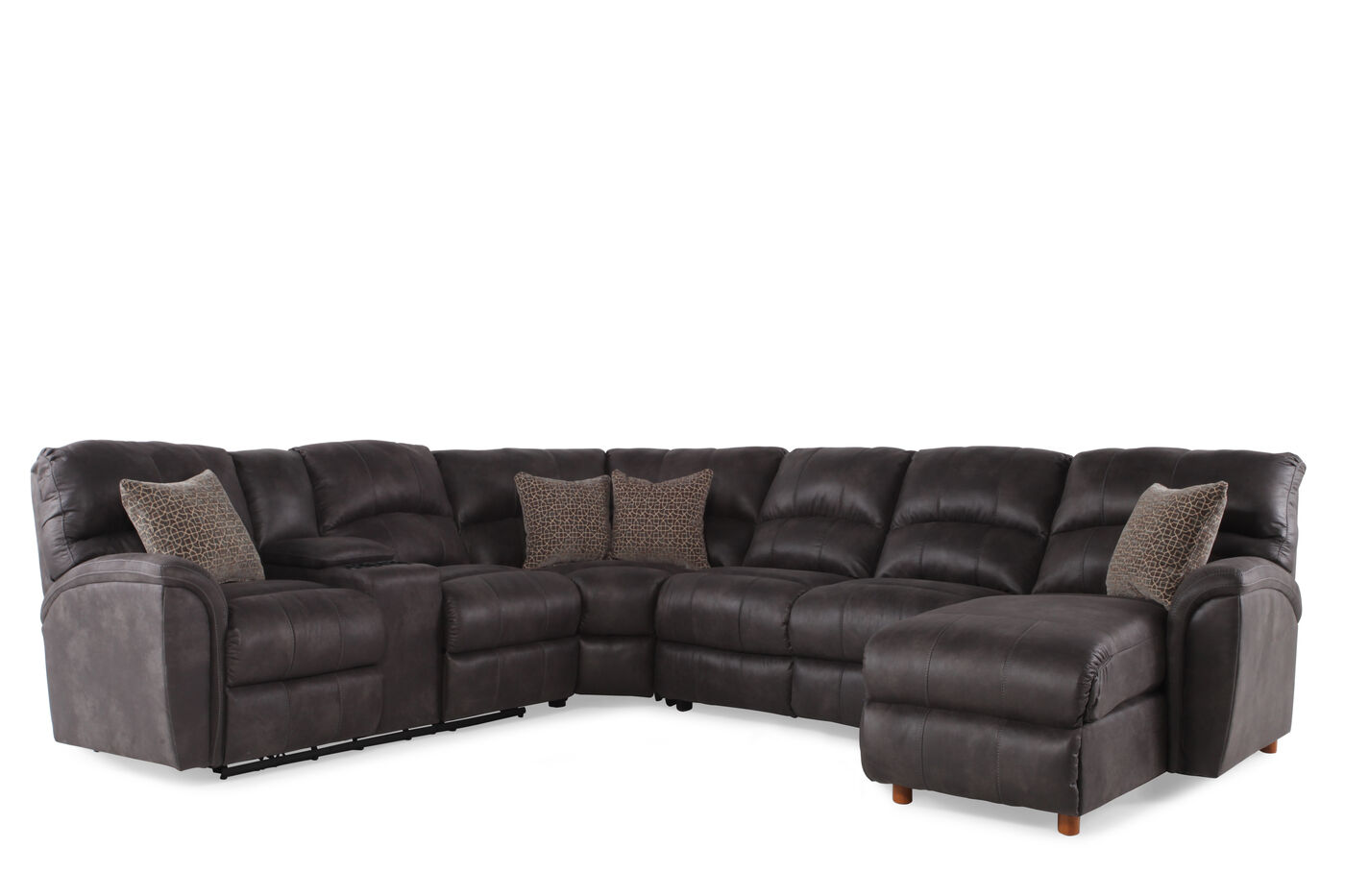 microfiber 118 power reclining sectional in gray mathis brothers furniture. Black Bedroom Furniture Sets. Home Design Ideas