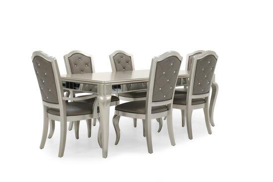 Seven-Piece Diamond Button-Tufted 63'' Dining Set in Platinum