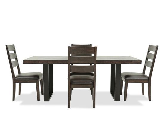 Five-Piece Mid-Century Modern 78'' Dining Set in Dark Brown