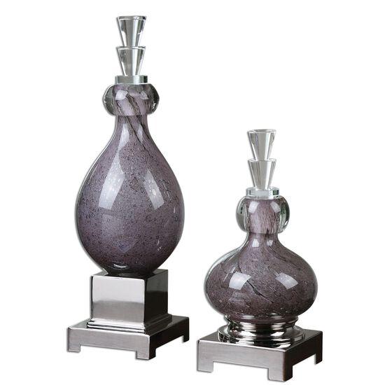 Two-Piece Glass Bottles in Dark Purple