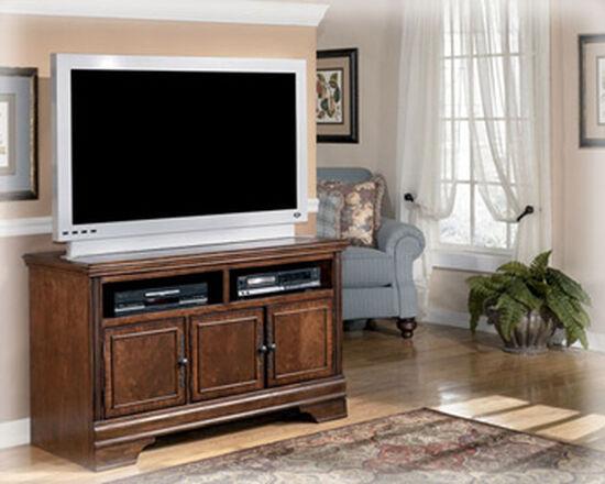Three-Door Traditional Medium TV Stand in Dark Brown