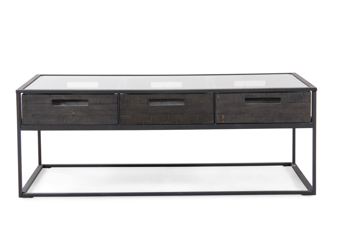 Rectangular Distressed Three Drawer Transitional Cocktail Table In Black Mathis Brothers Furniture