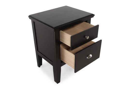 """28"""" Contemporary Two-Drawer Nightstand in Black"""