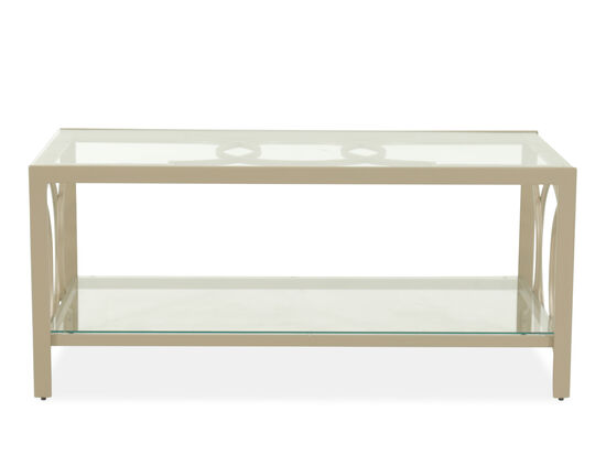Tempered Glass-Top Contemporary Cocktail Tablein Gold