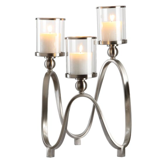 Curvy Candelabra in Brushed Nickel