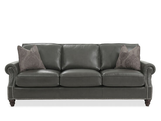 Nailhead-Accented Leather Sofa in Gray