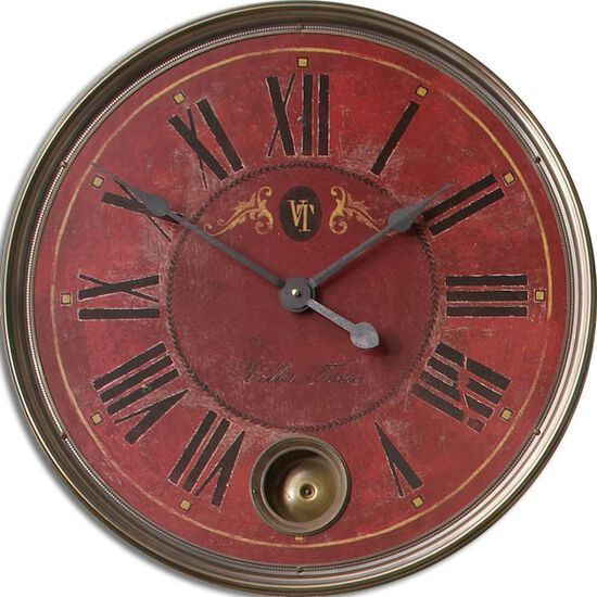 Weathered Roman Numeral Wall Clock in Red