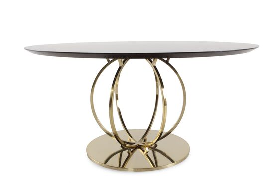 "Modern Tubular Steel Base 60"" Round Dining Table in Caviar"