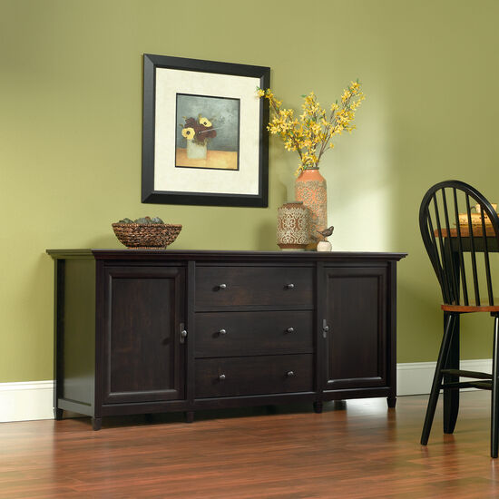 Three-Drawer Solid Wood Credenza in Estate Black