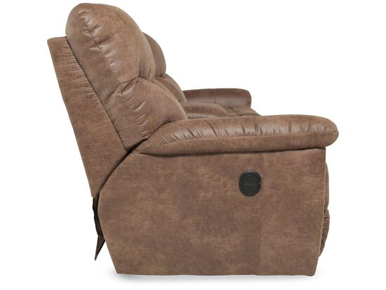 """Traditional 79"""" Double Recliner in Medium Brown"""