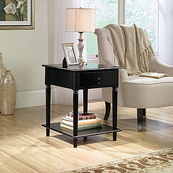 Floating-Base Contemporary Side Tablein Black